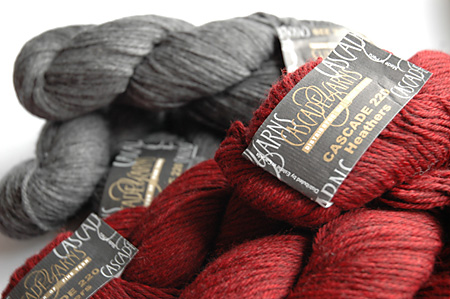 Cascade 220 Wool in grey and burgundy